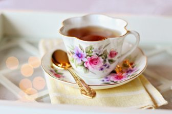 tea cup with tea stock photo